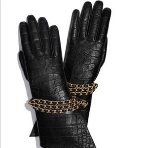 NWT Chanel croc print leather gloves size 7